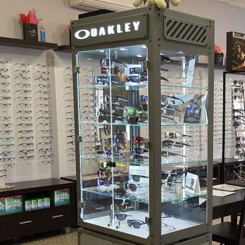 Brands. Oakley eyewear display.