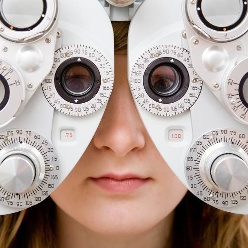 Person having an eye exam.