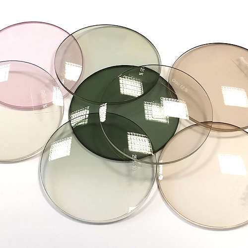 Lenses for eyeglasses in varous colours of tint.