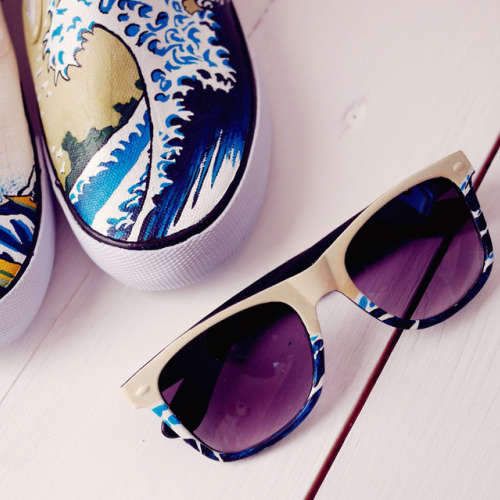 Shoes with matching sunglasses.